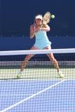 Il campione Martina Hingis del Grande Slam di cinque volte pratica per l'US Open 2014 Immagini Stock Libere da Diritti