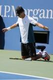 Il campione Mike Bryan del Grande Slam durante i doppi 2014 di semifinale di US Open abbina a Billie Jean King National Tennis Ce Immagine Stock