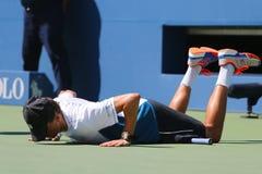 Il campione Mike Bryan del Grande Slam durante i doppi 2014 di semifinale di US Open abbina a Billie Jean King National Tennis Ce Fotografie Stock Libere da Diritti