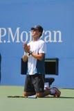 Il campione Mike Bryan del Grande Slam durante i doppi 2014 di semifinale di US Open abbina a Billie Jean King National Tennis Ce Immagini Stock Libere da Diritti