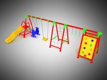 Il campo da giuoco 3d rosso del ` s dei bambini rende su fondo grigio Fotografia Stock Libera da Diritti