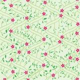 Il campo di stile della curvatura fiorisce il reticolo senza giunte dei fogli illustrazione di stock