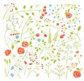 Il campo floreale di scarabocchio fiorisce e pianta la decorazione Immagini Stock