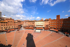 Il Campo Piazza. View from the Campanile tower on the Il Campino Piazza, Sienna Italy Stock Image