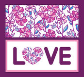 Il campo vibrante di vettore fiorisce la cornice di testo di amore Immagini Stock Libere da Diritti