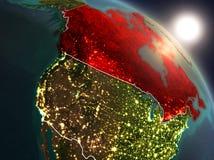 Il Canada da spazio durante l'alba Immagini Stock Libere da Diritti