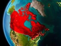 Il Canada da spazio nella sera Fotografia Stock Libera da Diritti