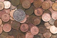 Il canadese un centesimo conia il fondo Fotografia Stock