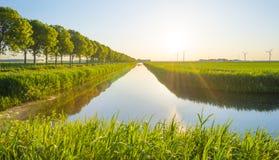 Il canale attraversa un paesaggio rurale alla luce dell'alba Immagini Stock Libere da Diritti
