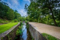 Il canale della O & di C, al Chesapeake & a storico nazionale del canale dell'Ohio fotografia stock libera da diritti