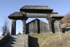Il cancello di legno ha intagliato la I Fotografie Stock