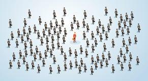 Il candidato rosso di Human Resource Recruitment dell'uomo d'affari, gente di affari ammucchia il concetto 3d di noleggio isometr Fotografia Stock