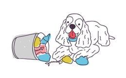 Il cane allegro ha scaricato i rifiuti dalla pattumiera o dal secchio Il cucciolo impertinente ha sparso l'immondizia isolata su  illustrazione vettoriale