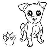 Il cane con coloritura della stampa della zampa impagina il vettore Immagini Stock Libere da Diritti