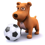 il cane 3d gioca a calcio Fotografie Stock Libere da Diritti