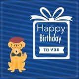 Il cane dei pantaloni a vita bassa con la parola di buon compleanno Immagine Stock