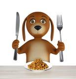 Il cane del fumetto con la ciotola di alimento asciutto tiene un coltello e una forcella Su fondo bianco 3d rendono immagine stock libera da diritti