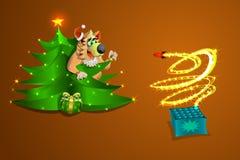 Il cane del nuovo anno guarda i fuochi d'artificio dai mestieri, su un oro e un fondo, un'illustrazione e un vektr marroni Immagine Stock