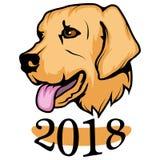 Il cane giallo è simbolo del 2018 Fotografia Stock Libera da Diritti