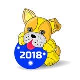 Il cane giallo sta giocando con una palla del ` s del nuovo anno, fumetto su un fondo bianco Fotografia Stock