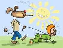 Il cane ha uomo su un cavo Fotografia Stock Libera da Diritti