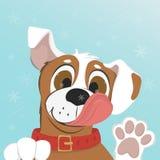 Il cane lecca un fiocco di neve sul vostro naso Immagini Stock