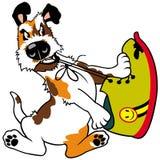 Il cane rosicchia la scarpa Immagine Stock