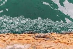 Il canestro del pallone nell'acqua La vista dal canestro fotografie stock