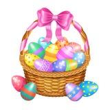 Il canestro di Pasqua con colore ha dipinto le uova di Pasqua isolate su bianco illustrazione di stock