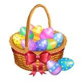 Il canestro di Pasqua con colore ha dipinto le uova di Pasqua isolate su bianco illustrazione vettoriale