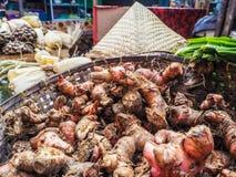 Il canestro ha riempito di galanga fresca venduta al mercato degli agricoltori Fotografia Stock Libera da Diritti