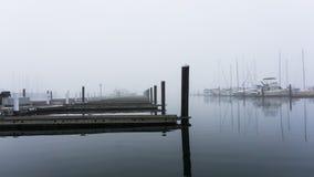 Il canottaggio si mette in bacino su una mattina fredda e nebbiosa Immagine Stock Libera da Diritti