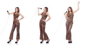 Il cantante della donna con il microfono su bianco Fotografia Stock Libera da Diritti