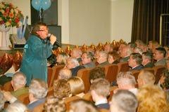 Il cantante ed il compositore Igor Kornelyuk - la prestazione sulla fase del palazzo del corridoio di scienza e della cultura del Fotografie Stock