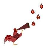 Il canto del gallo Immagine Stock Libera da Diritti