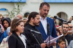 Il canto dell'anniversario del Th di festività 536 di Photios del hieromonk della liberazione della Russia dal giogo Mongoloide-t Immagini Stock