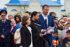 Il canto dell'anniversario del Th di festività 536 di Photios del hieromonk della liberazione della Russia dal giogo Mongoloide-t Immagini Stock Libere da Diritti