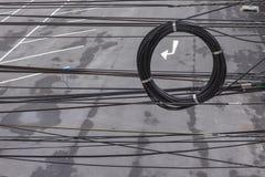 Il caos delle funi e dei cavi Fotografie Stock Libere da Diritti