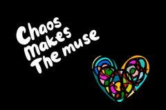 Il caos rende alla musa l'illustrazione disegnata a mano con l'iscrizione del fondo con lettere variopinto del cuore illustrazione di stock