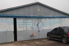 Il capannone di vecchio Santana fa l'aeroporto di Livramento fotografia stock libera da diritti