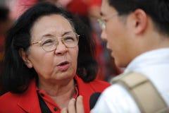 Raduno rosso della camicia a Bangkok Fotografie Stock