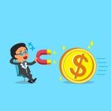 Il capo di affari del fumetto che per mezzo di un magnete attira la grande moneta dei soldi Fotografia Stock