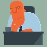 Il capo felice del fumetto ascolta attentamente Fotografia Stock Libera da Diritti