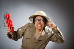 Il cappello d'uso di safari dell'uomo nel concetto divertente Immagini Stock Libere da Diritti