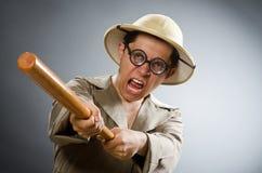 Il cappello d'uso di safari dell'uomo nel concetto divertente Fotografia Stock Libera da Diritti