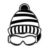 Il cappello del Beanie e googla Fotografia Stock