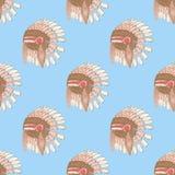 Il cappello del nativo americano di schizzo nello stile d'annata Fotografia Stock Libera da Diritti