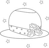 Il cappello della ragazza con le rose che colorano pagina Immagini Stock Libere da Diritti