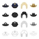 il cappello ha collegato l'insieme dell'icona Fotografie Stock