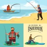 Il cappello piano del pescatore si siede sulla riva con la canna da pesca a disposizione e prende il secchio e la rete, Fishman h Immagini Stock
